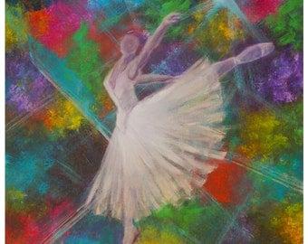 Ballet Dancer-8 x 10 Original Modern Art Print--Home Decor-Girl's Bedroom decor-Rainbow-Colorful-Ballerina-Home Decor-Leaping Dancer-freedom