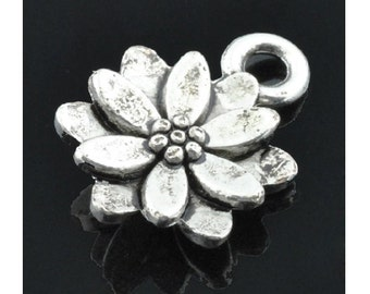 12 Little Lotus Flower Charms Silver Tone Small Lotus Blossom Mini Flowers Charm Jewelry 14.4 x 9.5 mm
