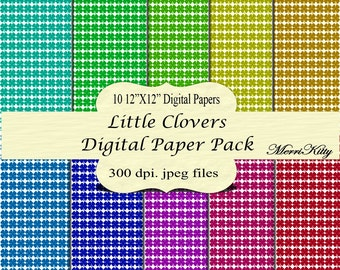 "INSTANT DOWNLOAD - Digital Scrapbook Paper Pack - Little Clovers - NO.20 - 10 12""x12"" Digital Papers - Card Making"