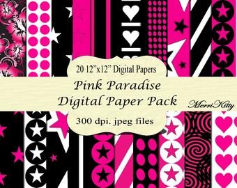 "INSTANT DOWNLOAD - Digital Scrapbook Paper Pack - Pink Paradise - NO.6 - 20 12""x12"" Digital Papers - Cardmaking"