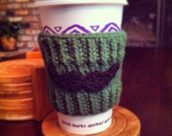 Hand knitted handle bar mustache manly coffee cup or tea cup cozy for Starbucks or peets