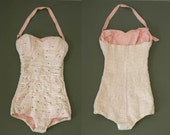 Sparkly 50s Pink Lace Swimsuit with Crystals Halterneck or Strapless