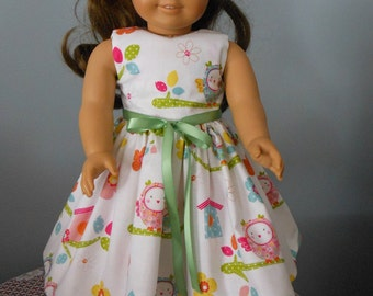 "AG Doll Dress - Owls, Bird Houses Handmade Colorful Dress fitting American Girl & Similar 18"" Soft Bodied Dolls - Doll Clothes"