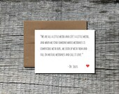 Dr. Seuss Quote Love Card with Kraft Envelope - Message Greeting Cardstock Paper Card - Love Valentine Weird Funny