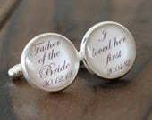 A Pair of Custom Cuff Links, Personalized father of the bride wedding date cufflinks, Wedding cuff links-011
