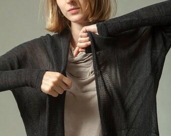 Black knitted cardigan Black jacket, Melange pattern sweater,Handmade of organic Bamboo