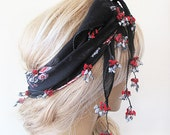 black and red patterned Headscarf -Traditional Turkish Oya Scarf-romantic-elegant, fashion-weddings,bridal,vintage,rustic