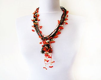 Crochet Necklace , Orange and Green, Flowers Crochet Jewelry, Twist and Flowers, Statement,  Nautical Knot Rope Necklace, Summer Style