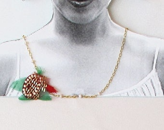 Handmade Necklace, TURKISH Jewelry, Embroidered Pendant, Red Roses, Unique, OOAK