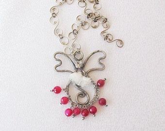 Pink Onyx, Angel Jewelry, Angel Necklace, handmade, Angel, Jewelry