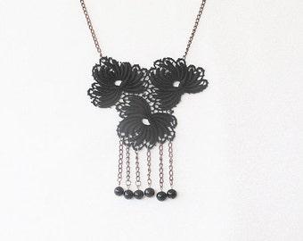Black Lace Necklace, Bridesmaid necklace, Lace fashion, Lace jewelry