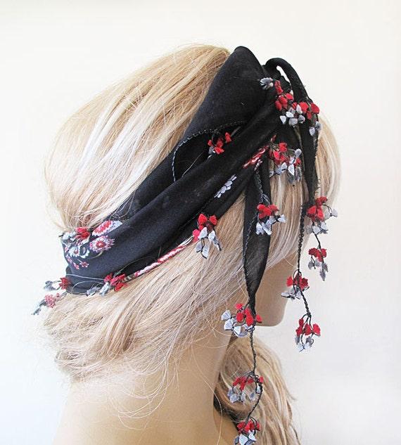 black and red patterned Headscarf -Traditional Turkish Oya Scarf-romantic-elegant, fashion-weddings,bridal,vintage,rustic