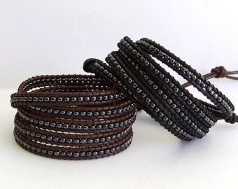 Leather Wrap Bracelet - Gunmetal  Beads, Brown Leather or Black Leather