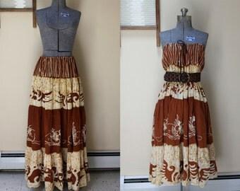 Vintage Boho Hippie Batik Flowing Full Circle Tiered Maxi Skirt Dress