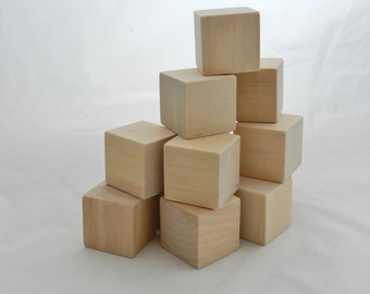 Wooden Blocks, Building Blocks, Baby Blocks, 1.75 inch set of TEN