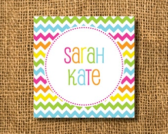Colorful Chevron & Circles Calling Cards or Gift Tags, Girl Gift Tags, Chevron Gift Tags, Colorful Gift Tags, Mommy Cards