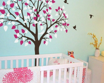 "Baby Nursery Tree Wall Decal Wall Sticker - Tree Wall Decal - Tree Decals - Large: approx 77"" x 61"" - KC020"