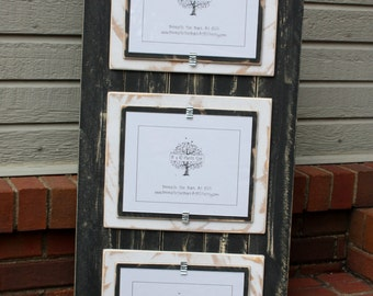 Picture Frame - Triple 8x10 - Distressed Wood - Double Mats - Holds 3 - 8x10 Photos - Black and White