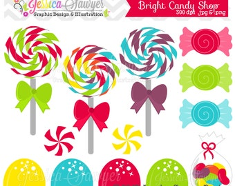 INSTANT DOWNLOAD,  candy shop clip art - rainbow birthday party - lollipops and gumdrops - cards, stationary, invitation