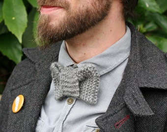 Hand knitted grey wool bowtie