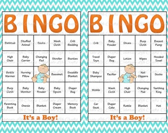 Great 30 Baby Bingo Cards   Baby Shower Bingo Game Printable Baby Boy   Aqua  Chevron Orange