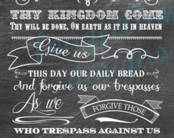 Lord's Prayer - Vertical Print - Choose From 2 Looks - Kraft or Chalkboard Look Print