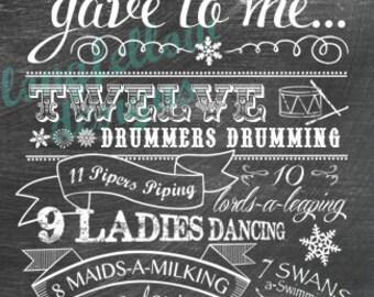 Twelve Days of Christmas - Chalkboard Look Print