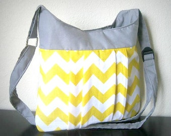 Yellow Chevron bag - Crossover shoulder Chevron bag / tote / purse / chevron bag / messanger bag / diaper bag