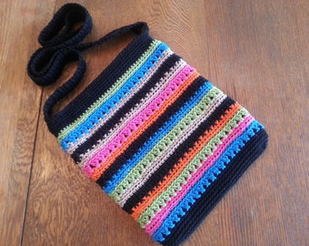 Crochet Crossbody Bag Purse Tropical Stripes Black Green Pink Orange Blue Lined Zipper Closure Pockets