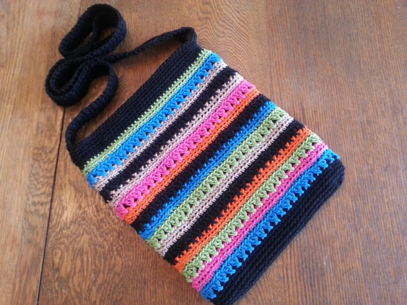 Crochet Crossbody Purse : Crochet Crossbody Bag Purse Tropical Stripes Black Green Pink Orange ...