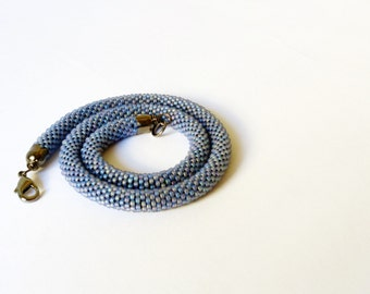 Lavender Necklace. Beaded Crochet Necklace. Beaded Rope Necklace. Lavender Choker