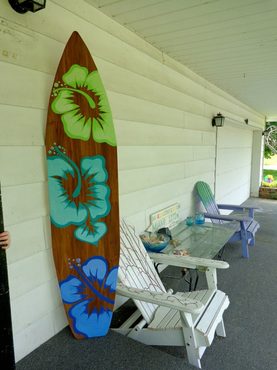 6 Foot Wood Hawaiian Surfboard Wall Art Decor or Headboard kids room Wood  base sign