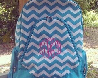Aqua Chevron Bookbag Backpack Monogram or personalized