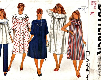 Maternity Dress and Tunic with Detachable Fashion Collars and Pants Sewing Pattern Butterick 4874 Size 10
