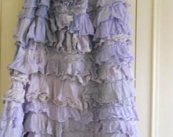Auth RitaNoTiara Lavender Pearl Vintage Lace Boho Shabby Chic OTT Boho Hippy Gypsy Lagenlook Long Asymmetric Skirt OSFM w/ the Magnolia Bow