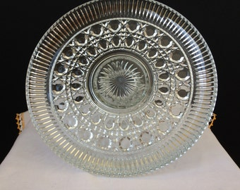 Federal Glass- Windsor - Cane and Button - Glass - Cake Stand - 1960's - 70's - Wedding - Birthday