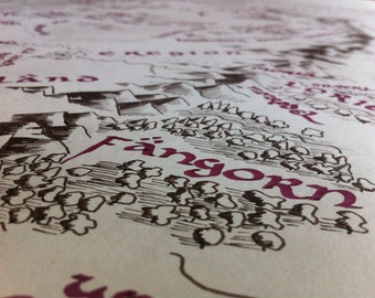 """Lord of the Rings Middle-Earth Map Sections // 3 5""""x7"""" Handdrawn Calligraphed Drawings // Ideal Hobbit's Gift"""