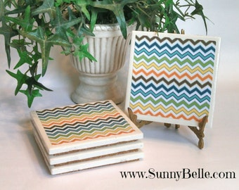 Ceramic Coaster Sets - Chevron; personalized; personalization