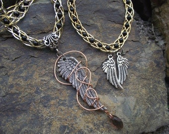 Angel Wings Necklace and Bracelet set- fantasy cosplay gothic- hidden treasury