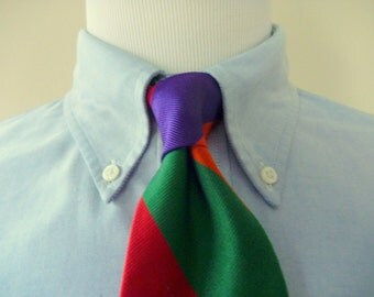 Vintage HUNTINGTON Brightly Colored Wide Repp Striped Trad / Ivy League Neck Tie.  Made in USA.