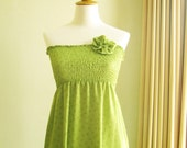 Green Smocked Dress with Fabric Flower Brooch