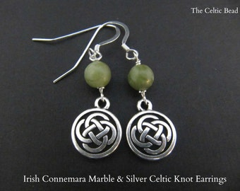Irish Connemara Marble and Silver Celtic Knot Earrings