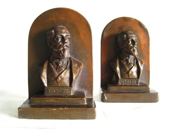 Bookends armor bronze charles dickens 1920s by space24retro - Armor bronze bookends ...