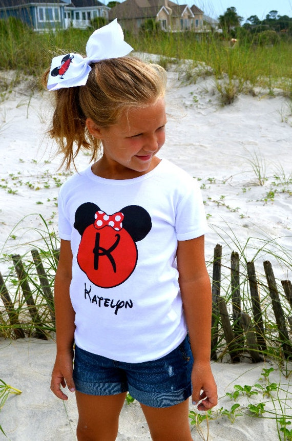 Minnie Mouse Ears Personalized Name T Shirt Girls Boys Tee Baby Onesie High Quality Disney Mickey Shirt