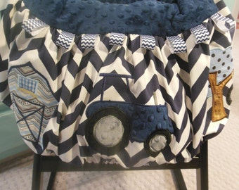 Blue Tractor Shopping Cart - High Chair Cover
