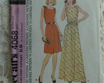vintage 1970s McCalls sewing pattern 4068 pullover dress