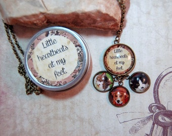 Pet Photo Necklace Multi Pendant Personalized Picture Necklace in Gift Tin Pet Jewelry for dog lovers cat lovers moms dads