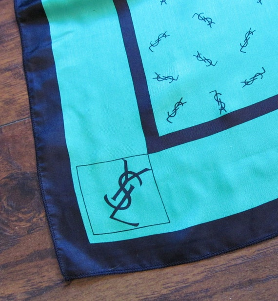 Vintage Yves Saint Laurent Scarf YSL Scarf Green Scarf YSL Logo