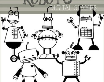 Robot Clipart -Personal and Limited Commercial- Cute Robots Black Line Art