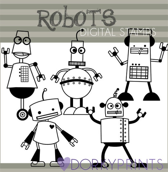 Line Art Limited : Robot clipart personal and limited commercial cute robots